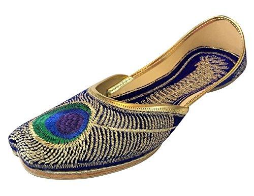 Schritt N Style Frauen Pfau Sandle Flipflops Panjabi Uns indischen Mojari Khussa Jutti, Blau - blau - Größe: 35.5