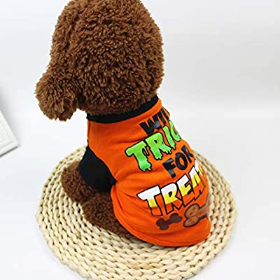 Hongyi Halloween Pet Dog Costume,Cartoon Print T-shirt Pet Clothing,Funny Costumes for Teddy Bichon for Puppy Small Pet Party Dress Up (Medium)