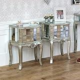 Melody Maison Gamme de Tiffany–Meubles Bundle Paire de Tables de Chevet à 2tiroirs Miroir