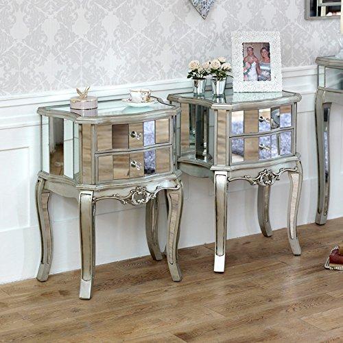 Melody Maison Tiffany Sortiment–Möbel Bundle Paar Nachttische 2Schubladen verspiegelt