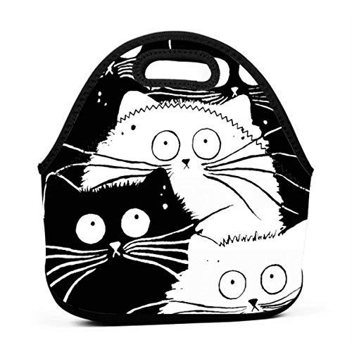 MrRui Lunchtasche mit Cartoon Cat, Wasserdicht, isoliert, Bento-Beutel,wiederverwendbar, für Schule, Büro, Picknick, Lunchbox für Damen, Herren, Studenten, Arbeiter
