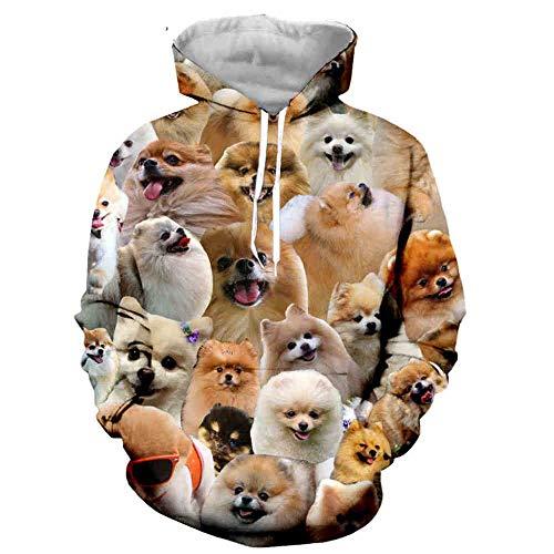 LiXiangTfC Mann / Frau Tierhund Lustige Langarm 3D-Print Hoodies / Sweatshirts / Jacke / Männer / Frauen Tops -02_XXL