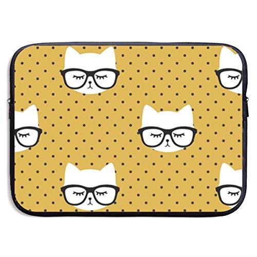 Ahdyr Notebook-Hülle 15 Zoll, wasserdichte Aktentasche Tragetasche, Neopren-Laptoptasche, Katze mit Brille - Senf-Polka