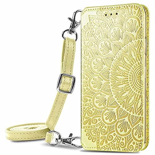 JIAFEI Funda para Xiaomi Redmi Note 10 4G Billetera, Premium Elegante PU + TPU Flip Billetera Leather Case Cover Estuche [Tiene un cordón Desmontable], Amarillo