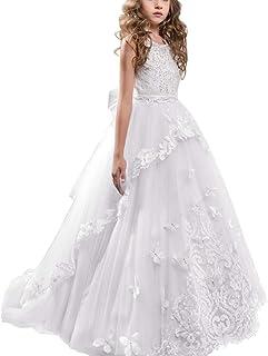 38f82549a IWEMEK Appliques Vestido de Primera Comunión Princesa Vestido de Niña de  Flores Vestidos de Dama De