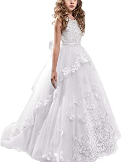 Little Big Girls Flower Wedding Lace Long Communion Long Dress Party Pageant Formal Puffy Dance Evening Gown