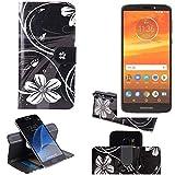 K-S-Trade® Schutzhülle Für Motorola Moto E5 Plus Dual-SIM Hülle 360° Wallet Case Schutz Hülle ''Flowers'' Smartphone Flip Cover Flipstyle Tasche Handyhülle Schwarz-weiß 1x