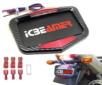 ICBEAMER Universal Fit Most Motorcycle License Plate Frame w/ 6+ Flashing LED Tail + Brake Light [Carbon Fiber Pattern] from ICBEAMER