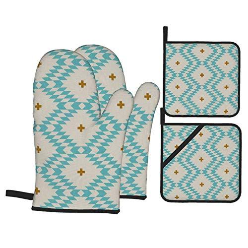DearL Native Natural Plus Lot de 4 gants de four et maniques résistants à la chaleur Turquoise