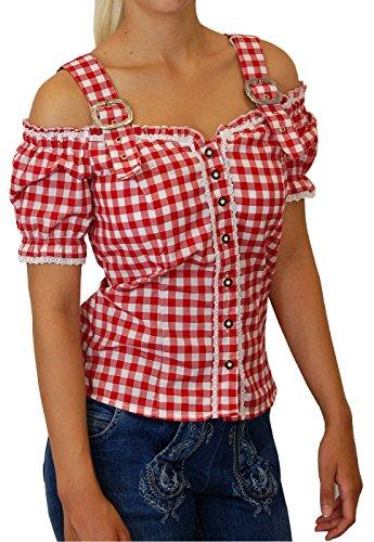 Lekra Sexy Carmenbluse Trachtenbluse Landhaus Mieder Kessy von trenditionals in verschiedenen Ausführungen, Größen:40;Farben:rot - weiss