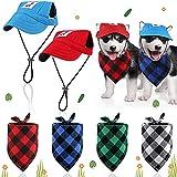 6 Stücke Hund Baseball Kappe Hut Bandanas Set Verstellbare Größe Haustier Hund Outdoor Sport Sonnenschutz Dreieck Schal für Kleine Mittlere Haustiere (Karierte Serie, S)