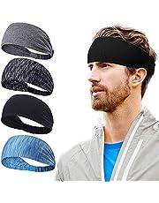 VEGCOO 4 Pack Bandeau de Sport, Bandeau de Yoga pour Femmes, Bandeau de Fitness pour Hommes–Fit pour Courir, Le Cyclisme et Le Basket-Ball