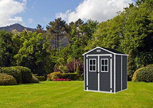 Keter 12-938205 Chalet et et Garden Gartenhaus aus Kunstharz, 65Dd ANT, Anthrazit, 185 x 152 x 226 cm