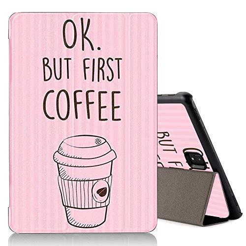 ZhuoFan Hülle für Samsung Galaxy Tab S4 10.5, Schlanke Leicht Case Tasche Ständer Schutzhülle mit Muster Motive, Auto Schlaf/Wachen Cover für Samsung Tab S4 10.5 SM-T830 / T835, Kaffee