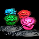 Acmee (Pack of 4) Battery-powered Color Changing LED Waterproof Floating Rose Flower Night Light Floating Pool Light Flower, Waterproof LED Bathtub Night Light, Battery Powered Floating Rose Light up Flower for Wedding, Hot Tub, Kids Gift, Party, Festival, Pond, Garden, Pool Decor