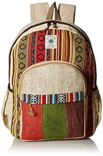 Rayas cáñamo y Colorido algodón Mochila Hecho a Mano en Nepal con F