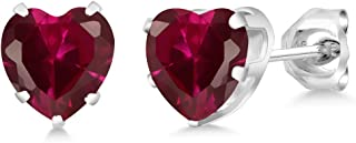 35x20mm Fancy Heart Shape Red Blood Ruby Woman/'s Jewelry Silver Earrings