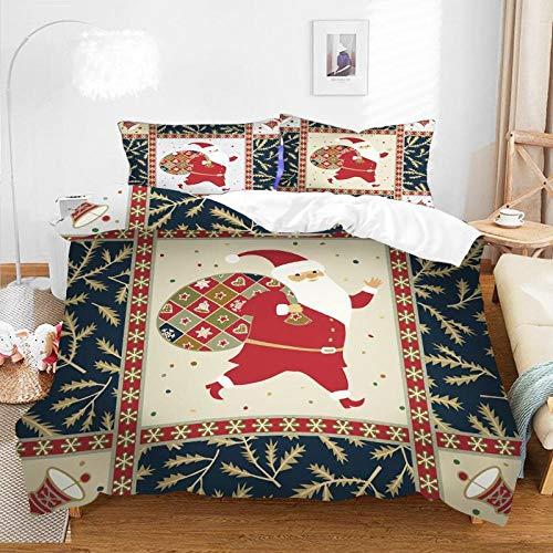 Juego de ropa de cama con estampado navideño 3D Juego de funda nórdica Fundas de almohada Juegos de ropa de cama de edredón Textiles para el hogar Ropa de cama Ropa de cama-F-020_140*210cm(2pcs)
