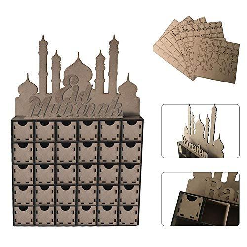 QueenHome DIY Kommode EidMubarak Muslim Islam Eid Al-Fitr Countdown Dekoration Geschenk Box Dekoration Hölzerne Verzierung Eid Dekoration Ramadan Für Moslemischen Islam Eid Al-Fitr Oder Andere