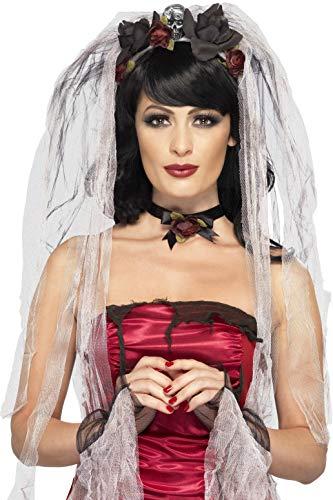 Smiffys Kit mariée gothique, avec voile roseet crâne, ras de couet gants