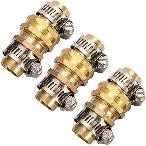 3Sets Brass Garden Hose Mender End Repair Kit Water Hose End Mender