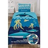 (ナショナルジオグラフィック) National Geographic オフィシャル商品 Ocean Life リバーシブル 掛け布団カバー・枕カバーセット (イギリスシングル) (ブルー)
