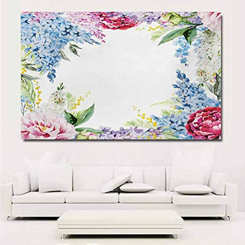 ParadiseDecor Flower Wall Decor Springtime Fragrance Garland with Bunch of Flowers Lilac Lavender Rose Peony Artsy Print Wall Decals for Bedroom 24x16 Inch