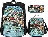 Portofino, Italia - Mochila escolar de 3 piezas, bolsa escolar + estuche para lápices + bolsa de almuerzo con impresión 3D, lona de viaje y camping juvenil