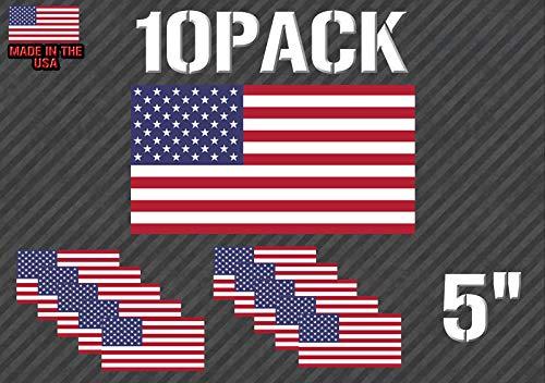 Pak van 10 Amerikaanse Vlag Sticker Sticker - Militair (pk10USAflg33434)