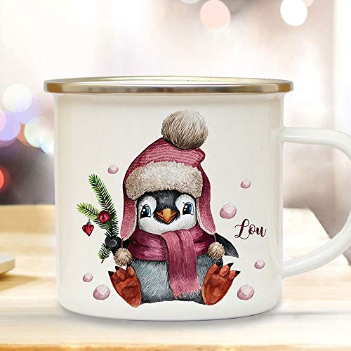 Emaille Becher Camping Tasse Winter Pinguin & Name Wunschname Kaffeetasse Weihnachten Geschenk Weihnachtsmotiv eb475 ilka parey wandtattoo-welt®