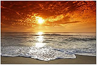 Wieco Art The Sea Canvas Prints Wall Art Sunset Ocean Beach Pictures Photo Paintings for Living Room Bedroom Home Decorations Modern Stretched and Framed Seascape Waves Landscape Giclee Artwork 24x36