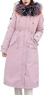 Wadonerful Women Overcoat Fur Collar Long Sleeve Winter Warm Thick Fleece Liner Hooded Jacket Cotton Trench Coat Outwear