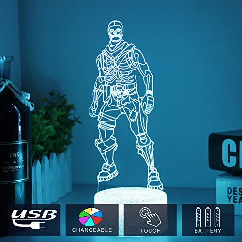 Skull Trooper 3D Lamp LED Skin Battle Royale 3D Lights 7 Color Changing for Bedroom Home Decor Grandson Party Gift Toys (Crack Skull Trooper)