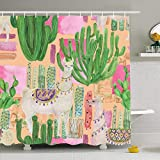 Shower Curtain Set With Hooks 72x72 Farm Watercolor Painting Wool Pattern Nose Nature Llamas Cacti Fur Interiors Wild Textures Peru Waterproof Polyester Fabric Bath Decor For Bathroom 72x72 Inch