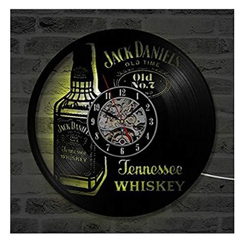 CAISYE Vinyl Uhr Schallplattenuhr, Mit Fernbedienung LED Jack Daniels Familien Dekoration 3D Design Wanduhr Wohnzimmer Schlafzimmer Restaurant Wand Deko Schwarz (30Cm/12In)