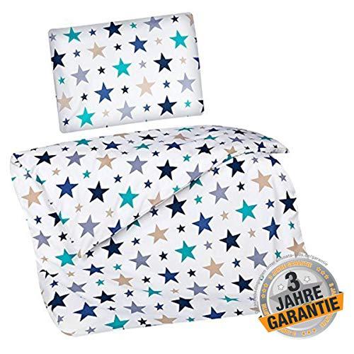 Aminata Kids süße Kinderbettwäsche Jungen & Mädchen, Sterne dunkel-blau, grau, Petrol 100x135 cm + 40 x 60 cm, aus Baumwolle mit Reißverschluss, unsere Stern-Motiv Baby-Kinder-Bettwäsche-Set, Star-s