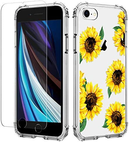 YLIFE for iPhone 7 iPhone 8 iPhone se 2020 Case Flower Clear Design Slim Soft TPU Cover Ultra product image