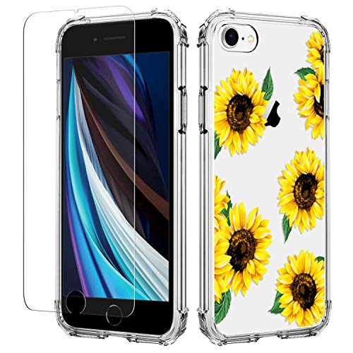 YLIFE for iPhone 7 iPhone 8 iPhone se 2020 Case Flower Clear Design Slim Soft TPU Cover Ultra Thin Anti Fall with Screen Protector(Sunflower)