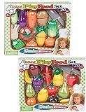 Lebensmittel Obst und Gemüse für Spielküche schneidbar 40 tlg
