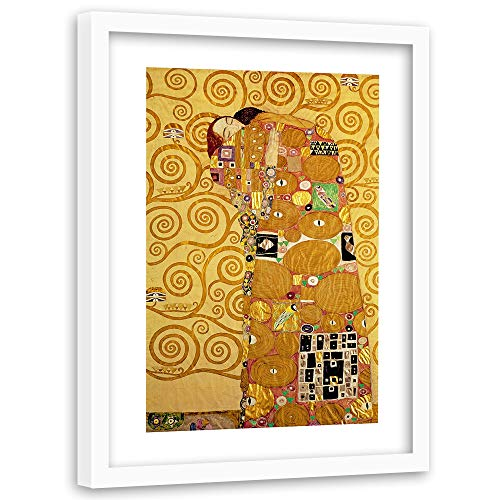 F FEEBY WALL DECOR canvas foto vrouw portret afbeelding kunstdruk gouden jurk goud Weißer rahmen 80x120 cm G