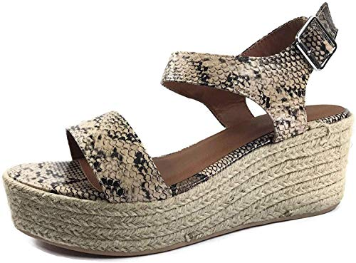 City Classified Womens Wedge Espadrilles Jute Rope Trim Ankle Strap Open Toe Sandals, Snake Python, 9