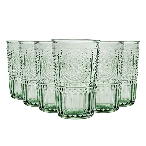 Bormioli Rocco Romantique Highball Verres Set - Cocktail Vintage Verre Cut Italien Gobelets - 340ml - Vert - Lot de 6