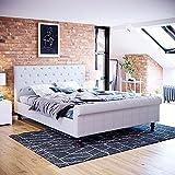 Vida Designs Violetta King Size Bed, 5 ft Bed Frame Upholstered Fabric Headboard Bedroom Furniture, Light Grey Linen