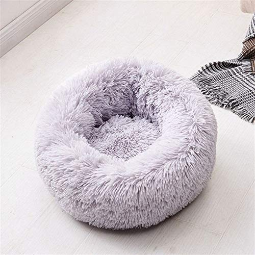 Round Plush Cat Dogs Bed House Soft Long Plush Cat Bed Round Pet Dog Bed For Small Cats Nest Winter Warm Sleeping Bed Puppy Mat (Color : Light grey, Size : 60cm)