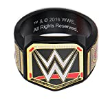 WWE Mens Stainless Steel Black PVD Plated Championship Belt Logo Ring