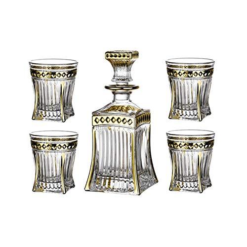 YaGFeng Juego De Whisky Whisky Botella De Vidrio De Vino Whisky Glasses Liquor Decanters Set Un Gran Regalo para Amigos (Color : Clear, Size : 5 Piece Set)
