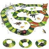 Dinosaurier Cars RennbahnKinder - StraxBahn 216 Stück Flexible Autorennbahn Spielzeug RennstreckeKinder AutobahnElektrisch für Kinder ab 3 4 5 6 Jahre