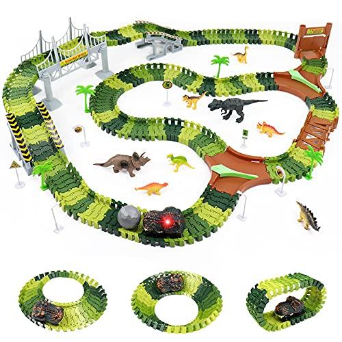 Fajiabao Pista Macchinine Dinosauro Giocattolo per Bambini - 216 Pezzi Piste Flessibile Macchinine Elettriche Pista Cars con 8 Dinosauri Giocattoli Regalo Bambino 3 4 5 6 Anni