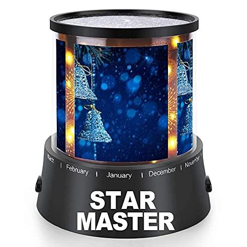 Azul marino y plata blanco clásico Navidad Proyector de luz nocturna con USB Cable Decoraciones Lámparas de proyección Iluminación de estado de ánimo para sala de estar dormitorio