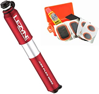 LEZYNE Pressure Drive Bike Hand Pump Presta & Schrader Valve Portable Bicycle Pump (Red, Medium) Bundle with a Lumintrail Tire Patch Kit